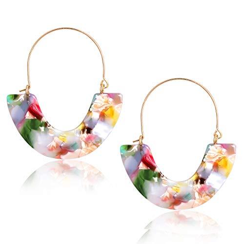 (CEALXHENY Acrylic Earrings Tortoise Hoop Earrings Statement Wire Resin Earrings Fan Drop Dangle Earring for Women (D Pink Flower))