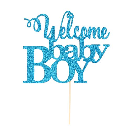 Blue Welcome Baby Boy Cake Topper - Baby Shower Party Decorations - Gender Reveal for Baby Boy Party Decorations -