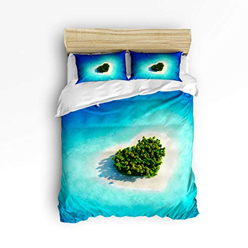 YEHO Art Gallery Soft Duvet Cover Set Bed Sets for Children Kids Girls Boys,Green Heart Shape of Islands Bedding Sets Home Decor,1 Comforter Cover with 2 Pillow Cases,Twin Size