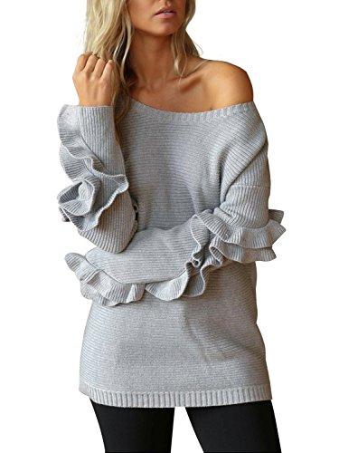 - Simplee Apparel Women's Loose Crewneck Ruffles Long Sleeve Sweater Jumper Grey