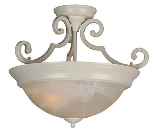Bowl Alabaster Swirl (Craftmade X224-W Bowl Semi-Flush Mts. with Alabaster Swirl Glass Shades, White)