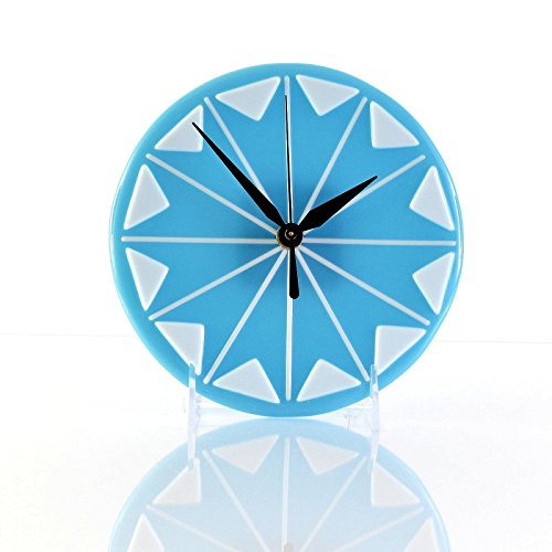 Sky Blue Fused Glass Art Starburst Wall Clock