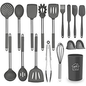 Silicone Cooking Utensil Set,Kitchen Utensils 17 Pcs Cooking Utensils Set,Non-stick Heat Resistant Silicone,Cookware… 9