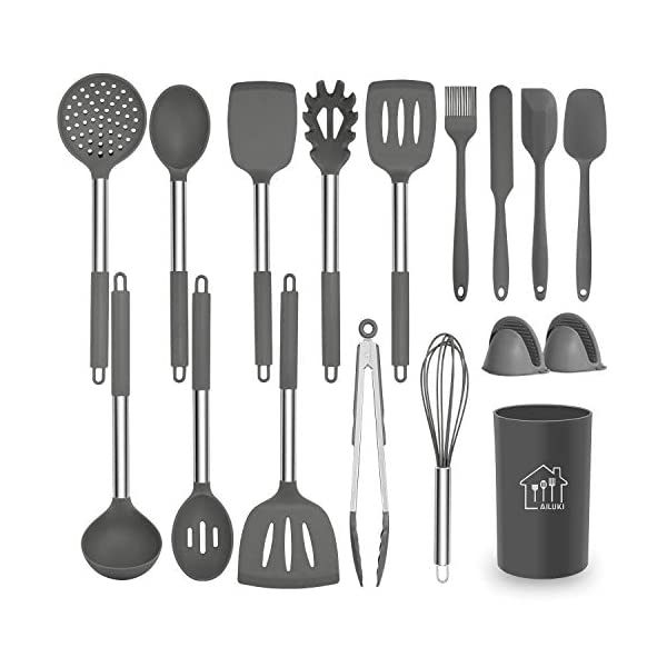 Silicone Cooking Utensil Set,Kitchen Utensils 17 Pcs Cooking Utensils Set,Non-stick Heat Resistant Silicone,Cookware… 1