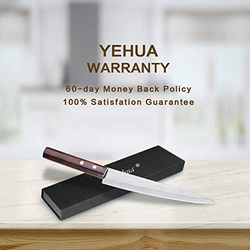 Sashimi Sushi Knife, Pro 8 Inch Chef Knife, Kitchen Knife with German High Carbon Stainless Steel & Gray Leather Wooden Handle Great for Slicing Meat, Fruits, Vegetables by Yehua (Image #6)