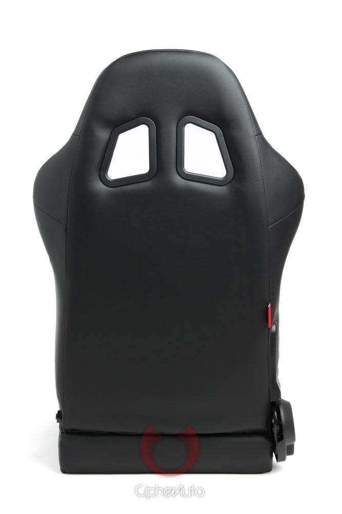 Black Leatherette Cipher Auto Racing Seats Pair