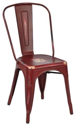 OFFICE STAR BRW29A4-ARD Bristow Armless Chair, Antique Red Finish, 4 Pack by OSP Designs