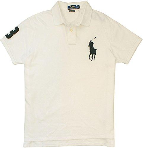 Polo Ralp Lauren ccustom-Fit Big Pony Mess Polo Shirt-White- - Men Lauren Ralp