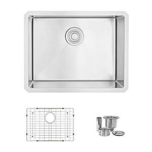 23 Inch Undermount Single Bowl Kitchen Sink, 16 Gauge Stainless Steel, 10mm Radius Corners, Luxury Basket Strainer and Grid, S-307XG (16 Gauge and Grid)