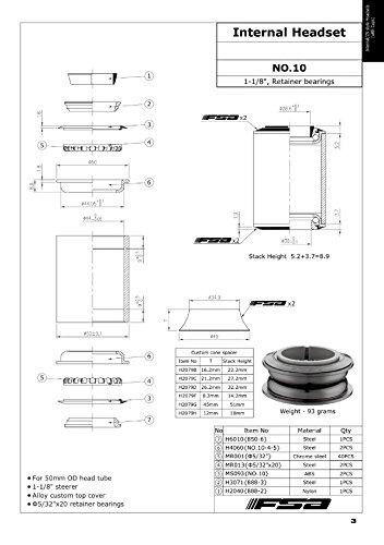 FSA No.10 Semi Integrated/Internal Headset - 1-1/8'' 8.2mm Top Cone ZS44# XTE1600 by FSA (Image #3)