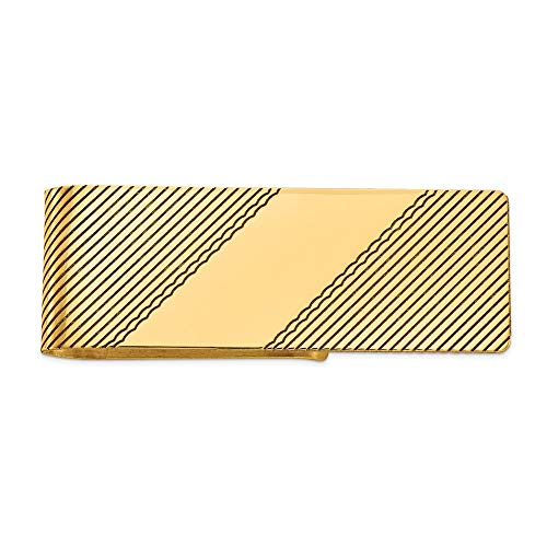 Yellow Gold Carved Money Clip - Men's 14k Yellow Gold Diagonally Carved Money Clip