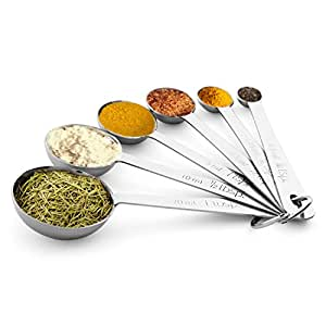 Measuring Spoons, X-Chef Best Metal Measuring Teaspoons Stainless Steel for Cooking & Baking - Set of 6 Includes (0.6ml, 1.25ml, 2.5ml, 5ml, 7.5ml, 15ml) - Engraved in Metric/US Measurements