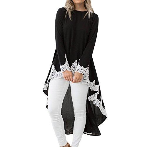 Dentelle Blouse Chemisier Femme Top Long Robe T Manches Irrgulire noir lgant Chic shirt Longues avec Lache Style Dcontract qwwF80Zf