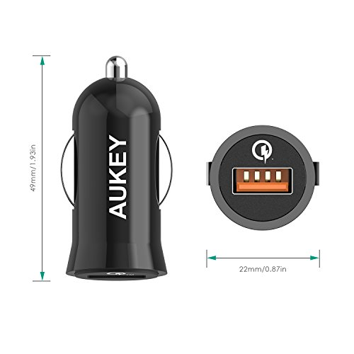 Quick Charge 2.0 AUKEY 18W USB Car Charger for LG G4, Samsung Galaxy S7/S6/Edge, iPhone and More