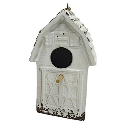 Ceramic Birdhouses - Drew DeRose Distressed White Barnhouse 8 x 6 Ceramic Birdhouse With Twine Hanger