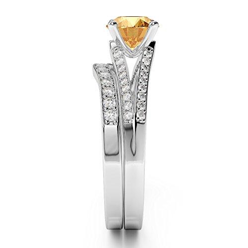 G-H/VS 1CT Coupe ronde sertie de diamants Citrine et diamants blancs et bague de fiançailles en platine 950Agdr-2037