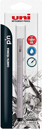Caneta Técnica Uniball PIN 0.5mm, Cinza Claro, Blister com 1 unidade