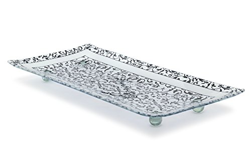 - Florentine Designed Charcoal Tempered Glass Rectangular Serving Tray on Glass Ball Legs Unbreakable - Chip Resistant - Oven Proof - Microwave Safe Decorative Platter