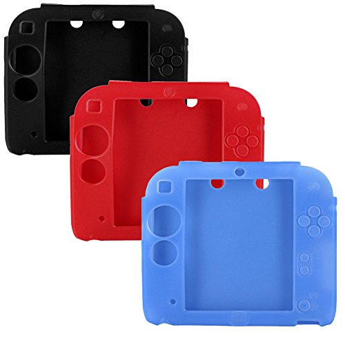 - 3Packs Protective Soft Silicone Rubber Gel Skin Case Cover for Nintendo 2DS (BU+RE+BL)