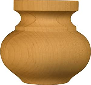 Medium Squat Round Bun Foot in Knotty Pine - Dimensions: 3 x 3 3/16 inches