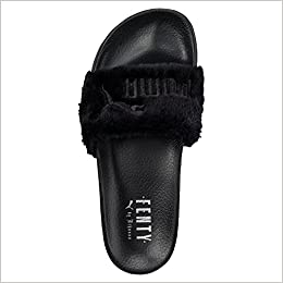 more photos 9e692 d7308 Puma X Rihanna Fenty Leadcat Fur Slide Women's Sandals Black ...