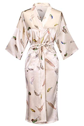 Old-to-new Women's Lightweight Patterned Long Kimono Robe Silk Bathrobe with Pockets Pagoda Beige -