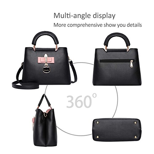 Black Bag PU Handbag Bag 2018 Women Crossbody Shoulder for Khaki Bag New Fashoin Tote Hardware Casual amp;DORIS NICOLE Pendant Girls qwUfCC