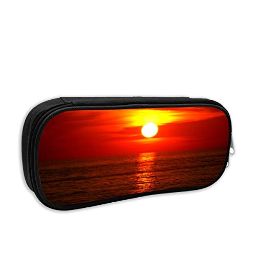 Horizon with Every Sunset Pencil Case Children School Pen Bag for Boys Girls Big Capacity Stationery Box Wearable Pouch Creative Makeup Cosmetic Bag Black