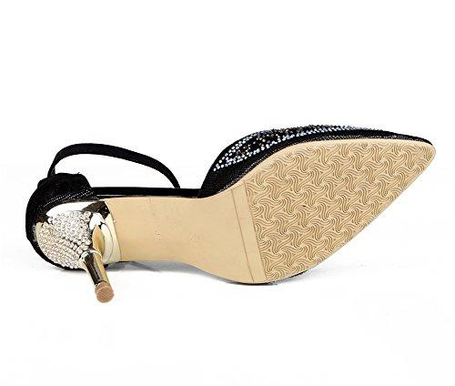 Tribunale Cinghia Del Caviglia Vestito Nero Nvxie Pompe Appuntito Alto Piede Scarpe Sandali Tacco Dito Festa Diamante Donna Stiletto Nozze FxTxnq47