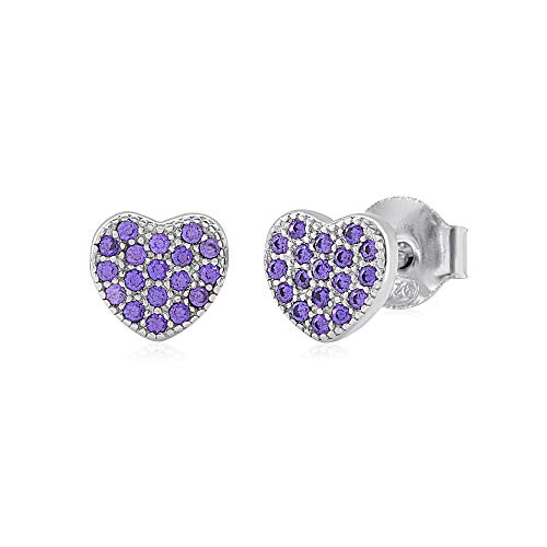 UNICORNJ Childrens Sterling Silver 925 Purple Cubic Zirconia Pave Heart Stud Post Earrings Italy