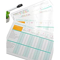 Magnetic Refrigerator Home Checklist Set with Kids Chore Chart and Menu Plan Magnet