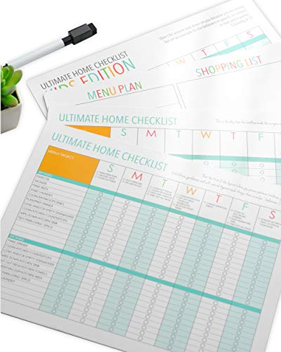 Magnetic Refrigerator Home Checklist Set with Kids Chore Chart and Menu Plan ()