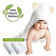 Hooded Bath Towel Baby 2 Washcloth Set Organic Bamboo Eco Friendly Soft on Sensitive Skin Hypoallergenic Antibacterial