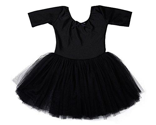 Stelle Girls' Cute Tutu Dance Dress Ballet Leotard Dress (S, Black)