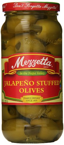 Mezzetta Stuffed Olives, Jalapeno, 10 Ounce (Pack of 3)