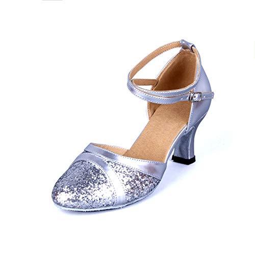 Pu De Del Medio Latino Silver Talón altura Baile Tacón Zapatos Fondo 6cm Las Mujeres Bajo ll Antideslizante Y Cuadrados Brillante Whl Blando qgCUxwIC