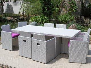 Salon de jardin résine tressée table 8 fauteuils gris DCB ...