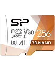 SP Silicon Power 256GB R/W up to 100/ 80MB/s Superior Pro microSDXC UHS-I (U3), V30 4K A1, High Speed MicroSD Card with Adapter