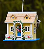 Plow & Hearth Somerset Lighted Birdhouse Yellow Cottage - 8.75 L x 6.25 W x 8 H