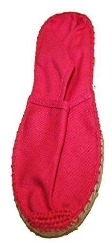 Pumps Frau aus Leinen Genäht Hand Sohle kautschuk und seil geflochten Mode Rosa