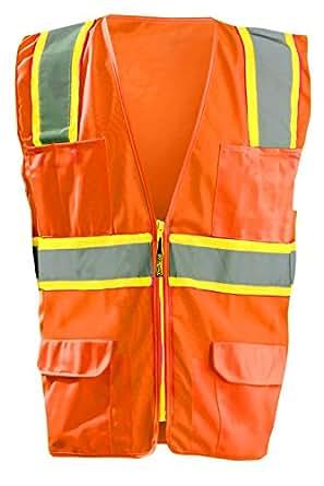Occunomix LUX-ATRANS-O5X Classic Solid Two-Tone Surveyor Vests, 5X-Large, Orange