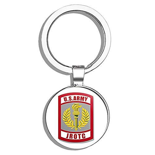 HJ Media Army JROTC Seal Shaped (Junior Military ROTC Logo) Metal Round Metal Key Chain Keychain ()