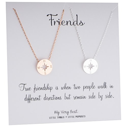 My Very Best Dainty Rose Gold Plated & Silver Plated Set of 2 Compass Necklace