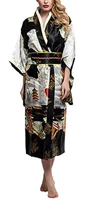 Kimono Palace Women's Yukata Silk Traditional Japanese Kimono Robe Satin Floral Bathrobe Party Robe Long