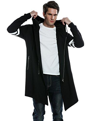 COOFANDY Men's Fashion Long Hooded Outwear Hoody Sweatshirt Teenager Hoodies,Black,Small (Jumper Long Black)
