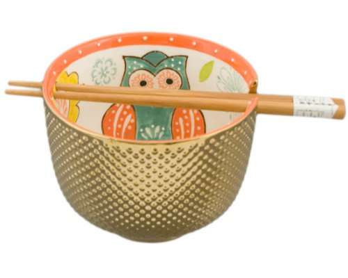 (Tropical Sunflower Owl) - Atlantic Collectibles Set of 2 Luxury Gold Plated Ramen Noodle Bowls With Chopsticks 13cm Diameter Made Of Ceramic Ideal For Home or Graduation Gift (Tropical Sunflower Owl) B073ZK91PJ  Tropical Sunflower Owl