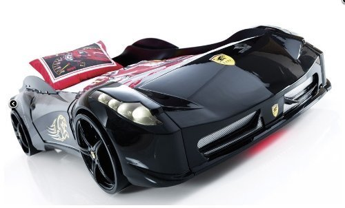 Childrens BLACK, WHITE, RED Ferrari 458 Italia Style Spider Racing Car Bed Frame (Black)
