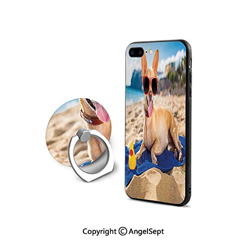 (Protective Case for iPhone 8/iPhone 7 with Ring Holder Kickstand,Chihuahua Dog at The Ocean Shore Sunbathing Smiling Coastal Charm Print,Shock-Absorption Bumper,d Brown Light Blue )
