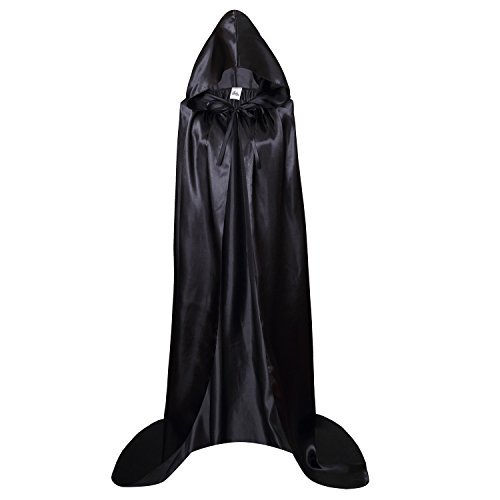 Makroyl Adult Full Length Hooded Cape Christmas Costume Cloak Halloween Party Cape (XL, Black) -