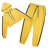 Women Fashion Striped Casual Pants Two Piece Set Hoodie Fitness Set